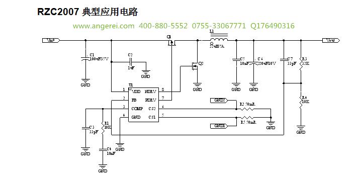 RZC2007功能描述 RZC2007是一款降压型的恒流恒压功能的PWM控制的电源管理芯片,其采用同步整流技术,外推N+P MOSFET,其转换效率可达90%。 RZC2007的工作电压范围为8V-40V, 输出电压可低到1.2V,最大输出电流可达6.0A. RZC2007恒流恒压模式控制 RZC2007具有双通道恒流功能,外部电路简单。恒压功能指向输出端提供一个可调节恒定电压,双通道恒流模式用于分别限制双端输出口电流,通过CS1和CS2脚连接的采样电阻来调整输出恒流值的大小,防止器件在过流或短路条件下发