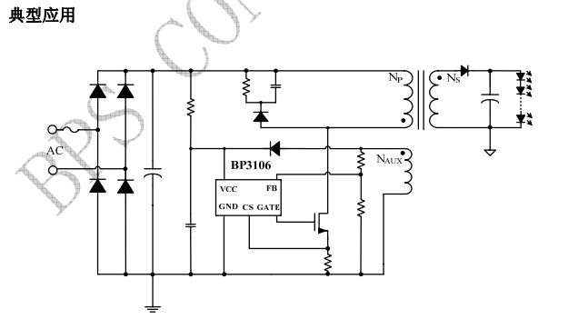 BP3106是一款高精度原边反馈的LED 恒流控制芯片,采用专利的恒流架构和控制方法,其只需要很少的外围组件就可以达到优异的恒流特性。无需光耦及TL431反馈,系统成本低。 1、BP3106启动 芯片仅需要25UA的启动电流……(详细信息请咨询在线客服索取免费PDF说明书与设计资料) 2、BP3106恒流控制,输出电流设置 BP3106主级侧峰值电流的表达式为: BP3106LED输出电流计算方法公式: 详细描述(详细信息请咨询在线客服索取免费PDF说明书与设计资料) 3、BP